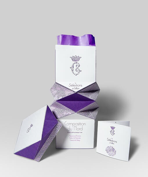 packaging boîte violette de biscuits Hôtel de Crillon Paris